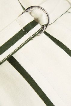 Cream and dark-green cotton and linen-blend Concealed hook and zip fastening at front 55% cotton, 45% linen Dry clean  Designer color: Parchment  Imported As seen in The EDIT magazine