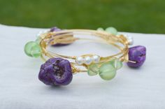 Wire Wrapped Purple Turquoise Nugget, Green Sea Glass, and Pearl Bangle Bauble Bracelet Set