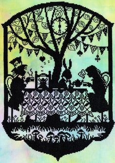 Mad Hatter's Tea Party(XFT5) New cross stitch kit by Bothy Threads. The Fairytale design is stitched on hand dyed aida and uses black stranded cotton. Contents: 14 count hand dyed aida, black stranded cotton, needle, chart and full instructions. Size: 26cm x 36cm RRP £31.99