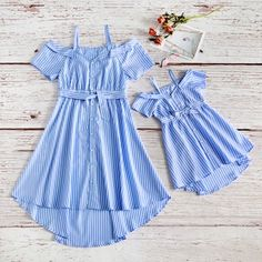 Twinning is the best💙 🛒Shop: Click our 👆 (Search🔎: Striped Off-shoulder Matching Dresses) ------- Check out our LAST and NEXT posts for customer sharing pictures💞 . Mother Daughter Matching Outfits, Mommy And Me Outfits, Cute Girl Outfits, Matching Family Outfits, Cute Summer Outfits, Kids Outfits, Summer Dresses, Frocks For Girls, Little Girl Dresses
