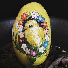 Getting ready for Easter!  #handmadegifts #handmade #gold #etsy #etsylove #etsysellersofinstagram #etsysale #chicken #chicks #Easter #flowers #floral #yellow #floral #spring #springflowers #handpainted #painting #artsy #artist #artsandcrafts #paintedstones #cute