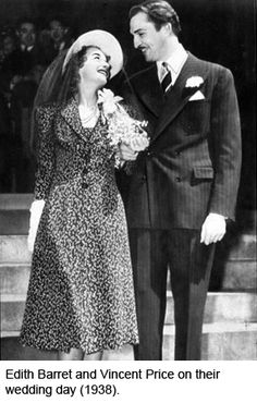 1938: Actor Vincent Price and Edith Barret on their wedding day.  They divorced in 1948.