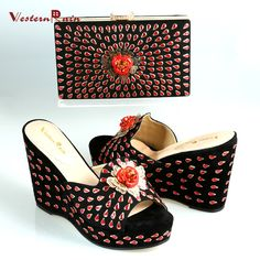 High Quality Trendy Black New Women Wedge African Shoes and Bag Set for Party,Wedding