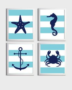 Nursery+Art+Stripes+Nautical+Beach+Ocean+Sea+Aqua+by+ZeppiPrints,+$48.00