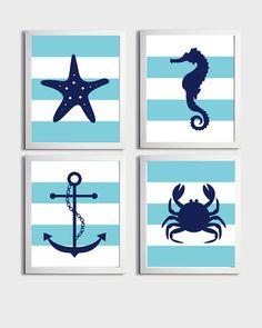 Nursery Art Stripes Nautical Beach Ocean Sea Aqua Navy more colors available set of 4 each 8x10 on Etsy, $48.00