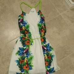 Goregous Tropical colored dress! Beautiful bold colors, tie around waist, braided straps Dresses Mini
