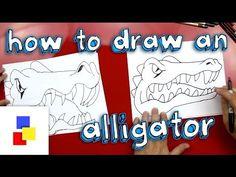 How To Draw An Alligator (Florida Gators Mascot) School Art Projects, Class Projects, Art School, Art For Kids Hub, Art Lessons For Kids, Teaching History, Teaching Art, Drawing For Kids, Drawing Step