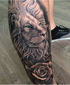 "14.7k Likes, 381 Comments - Tattoo Media Ink (@skinart_mag) on Instagram: ""Lion HEALED, fresh rose, work by: @davidgarciatattoo!!!) #skinartmag #tattoorevuemag…"""