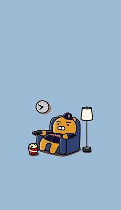 Bear watching the bears kakao ryan, pastel wallpaper, bear wallpaper, iphone wallpaper,