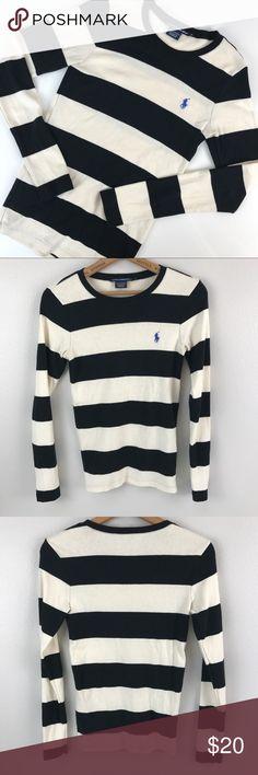 Ralph Lauren Sport striped sweater small Ralph Lauren Sport striped black & cream. Size small. Lightweight sweater. Super soft. 100% cotton. Ralph Lauren Sweaters