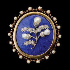 VICTORIAN PEARL, DIAMOND, ENAMEL, 12K YELLOW GOLD, SILVER LOCKET BROOCH #victorian #jewelry #michaans