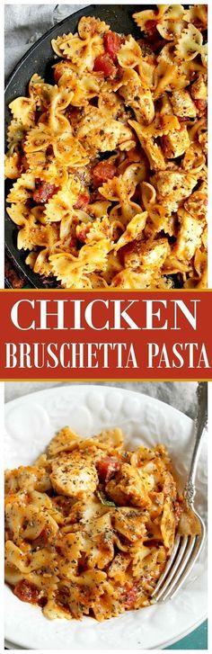 Chicken Bruschetta Pasta | http://www.diethood.com | Chicken, pasta and the…