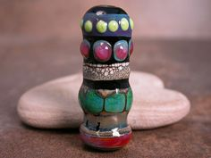 Lampwork Glass Focal Bead Lines & Dots on by DivineSparkDesigns, $24.00