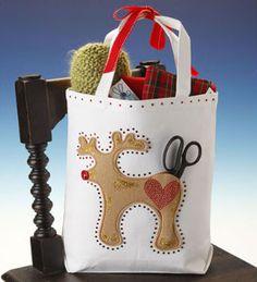 Reindeer Christmas Canvas Gift Tote