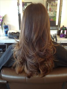 Long layered hair cut.. I wish my hair was straight so it would actually look…