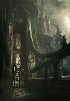 The Romathan Church is the most powerful religion in the Many Worlds. Their cathedrals reflect both the power they hold and the deity the revere (The Lady of the Rift)  (Must-See Concept Art by James Paick)