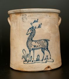"Sold $1,200 Rare Five-Gallon Stoneware Crock with Cobalt Standing Deer Decoration, Stamped ""HUBBELL & CHESEBRO / GEDDES, N.Y.,"" circa 1875, cylindrical ..."