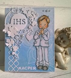 First Communion Cards, Card Maker, Cute Cards, Scrapbooking, Clip Art, Christian, Drawings, Handmade, Doll Crafts