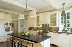 Love this kitchen, especially the subway tile backsplash!