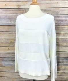 e5569dca0a NWT Mossimo Womens Sweater White Cream Stripe Size Large Viscose Long Sleeve  New  Mossimo