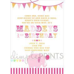 Free Printable Invitations, Free Printables, Big Top, First They Came, Dimples, Elephant, Just For You, How To Plan, Creative