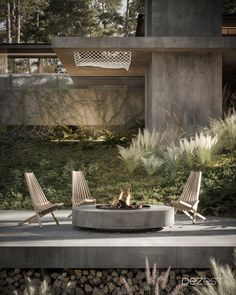 The architecture of a space with a bonfire for relaxing with family and friends.