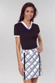 Check out this fun #gregnorman #golf skort! Black and white never goes out of style! (P.S. it's on sale!) #pinksandgreens