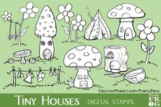TINY HOUSES - Digital Stamps by Purple Frog on @creativemarket