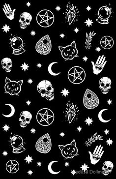 Witch pattern art print by medusa dollmaker. witch pattern art print by medusa dollmaker skull wallpaper iphone, hipster Witchy Wallpaper, Goth Wallpaper, Pattern Wallpaper, Wallpaper Backgrounds, Trendy Wallpaper, Phone Backgrounds, Pattern Lockscreen, Black Backgrounds, Hipster Phone Wallpaper