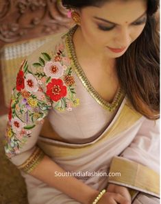 floral embroidered saree blouse by label m Kerala Saree Blouse Designs, Saree Blouse Neck Designs, Fancy Blouse Designs, Saree Blouse Patterns, Bridal Blouse Designs, Pattern Blouses For Sarees, Indian Blouse, Indian Wear, Churidar
