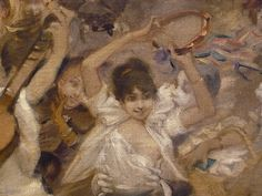 WILLETTE Adolphe,1884 - Parce Domine - Detail 042 : Français : Jeune femme jouant du tambourin  English: - Young woman playing tambourine - Montmartre -