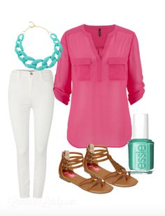 Spring and Summer Outfit Idea...White Jeans, Turquoise Accessories, Pink Blouse, Sandals