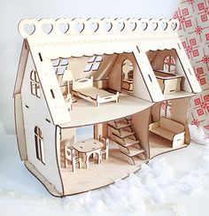 """Items similar to Laser cut house, wood Dollhouse """"Happy home"""" plywood, on Etsy"""
