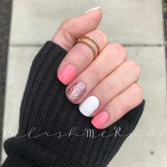 Best Nail Polish Colors of 2019 for a Trendy Manicure Pink Nail Colors, Cute Pink Nails, Nail Color Combos, White Glitter Nails, Coral Nails, Pink Nail Art, Green Nails, Nail Polish Colors, Coral Color