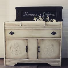Refinished waterfall buffet with raised stencil.