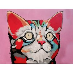 """A playful pop art depiction of a frisky feline! Oil painting on canvas, each painting can vary slightly.  36""""x48"""", with frame measures 44""""x56"""".  Price includes frame."""