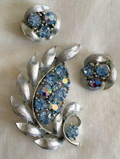 Vintage sky blue AB rhinestone & silver tone brooch and earring set by Lisner by GiosGems1 on Etsy