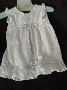 Vintage Baby Doll Pinafore Apron White Batiste Cotton Lace Pin Tucks Old Victorian