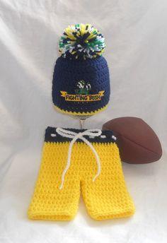 Notre Dame Fighting Irish Football Inspired Crochet by CDBSTUDIO 9ee6e1831535