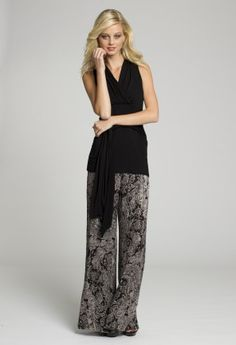 Dressy Tops - Tie Front Jersey Black Top with V Neck Front and Back from Camille La Vie and Group USA