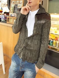 Wholesale Army Green Autumn Mens Long Sleeves Slim Blends Korean Style Shirt M/L/XL/XXL 990SJ-C1911-55agr in eFexcity