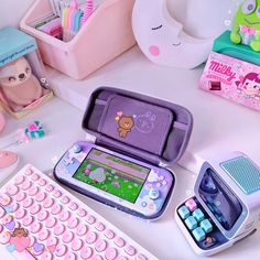 Cute Room Decor, Purple Aesthetic, Aesthetic Rooms, Photos Folles, Kawaii Games, Nintendo Switch Accessories, Kawaii Bedroom, Gaming Room Setup, Child Room