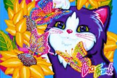 Lisa Frank Love this kitty face Lisa Frank Stickers, Colorful Artwork, Childhood Friends, Rainbow Colors, Cute Art, Lisa Lisa, Doodles, Valentines, Neon