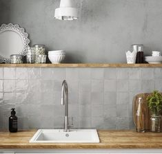 Ivy Hill Tile Amagansett Grey 4 in. x 4 in. / box) - - The Home Depot grau Ivy Hill Tile Amagansett Grey 4 in. x 4 in. Grey Backsplash, Kitchen Backsplash, Grey Kitchen Wall Tiles, Kitchen Soffit, Rustic Backsplash, Backsplash Design, Neutral Kitchen, Kitchen Grey, Kitchen Walls