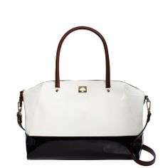 kate spade new york kingsbury park large catalina  -  white, navy blue, patent leather, classic, clean.        lj