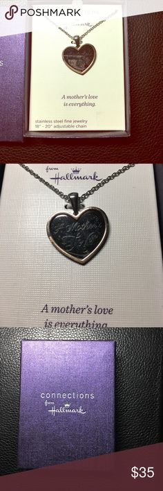 """Hallmark """"A mother's love"""" heart necklace Really beautiful stainless steel """"A mother's love"""" necklace by Hallmark. Heart has gold lining. Overall is silver. hallmark Jewelry Necklaces"""