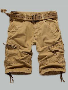 92202093d78 Polyester Zipper Fly Trendy Male Cargo Shorts