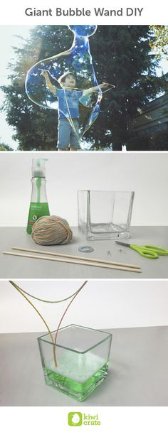 Giant Bubble Wand DIY. Now that the weather is warming up, my kids have been looking forward to going camping and playing outside! Using some household items, it was easy to make a giant bubble wand and a bubble solution for giant bubbles. The kids loved taking turns trying to see who could make the biggest bubbles. Summer. Activities. Kids. Boredom Busters. Easy. Outdoor. Play.