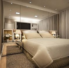 A very beautiful and cozy room: neutral colors that bring comfort and mirror . Luxury Bedroom Design, Master Bedroom Design, Home Decor Bedroom, Living Room Decor, Modern Luxury Bedroom, Luxury Decor, Master Bedrooms, Diy Bedroom, Bedroom Ideas