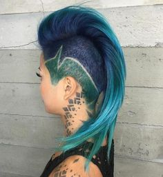 teal and blue mohawk